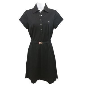 Callaway Black Belted Cotton Short Casual Dress
